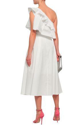 RAOUL One-shoulder striped cotton-poplin midi dress