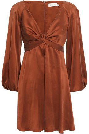 ZIMMERMANN Bow-detailed washed-silk mini dress
