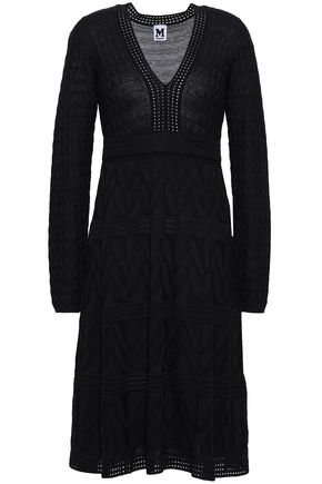 M MISSONI Pointelle-trimmed crochet-knit wool-blend dress