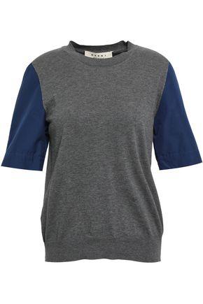 MARNI Poplin-paneled mélange cotton-jersey T-shirt