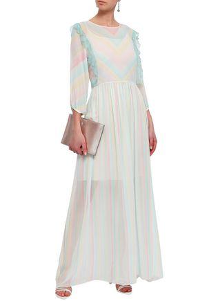 ISOLDA Striped silk-georgette maxi dress