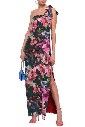 ISOLDA One-shoulder silk maxi dress