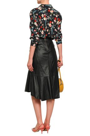 ISOLDA Fluted leather skirt