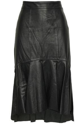 ISOLDA Fluted leather skirt