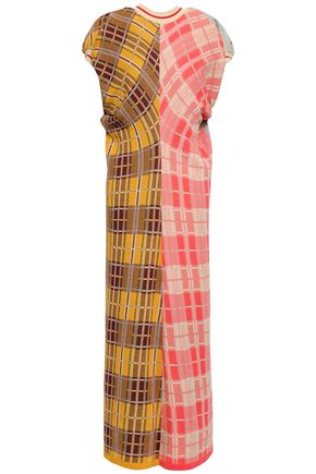 MARNI Paneled checked cotton-blend midi dress
