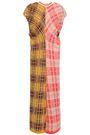 MARNI Paneled checked cotton-blend midi dress