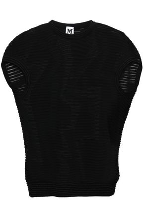 M MISSONI Metallic-trimmed crochet-knit top