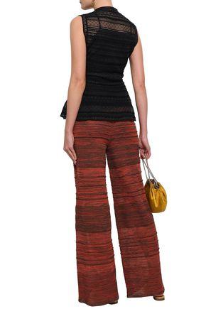 M MISSONI Striped crochet-knit peplum top