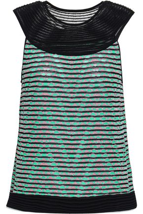 M MISSONI Paneled crochet-knit top