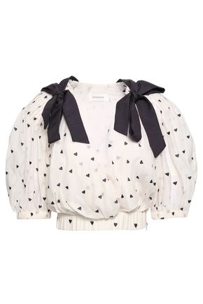 ZIMMERMANN Bow-embellished embroidered cotton and silk-blend top