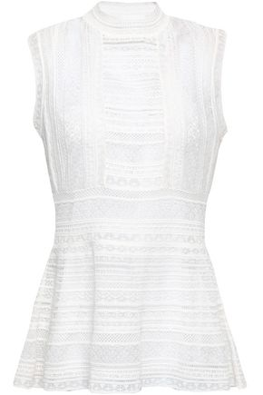 M MISSONI Striped crochet-knit peplum top