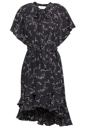 ZIMMERMANN Asymmetric ruffled floral-print silk mini dress