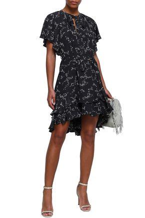 ZIMMERMANN Asymmetric ruffled floral-print silk mini dress