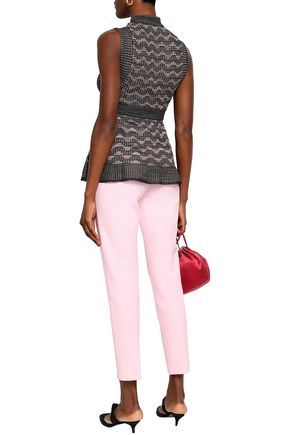 M MISSONI Metallic pointelle-knit peplum top