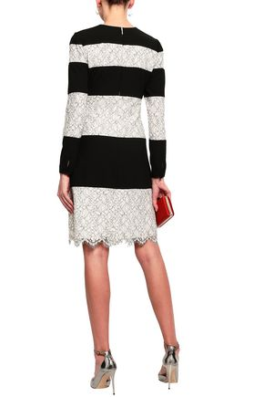 MIKAEL AGHAL Striped lace and crepe dress