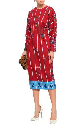 STELLA JEAN Printed satin-trimmed cotton-twill midi dress