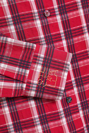 STELLA JEAN Checked cotton-seersucker shirt