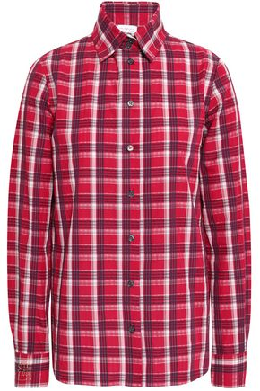 STELLA JEAN Checked cotton-seersucker shirt