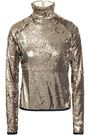 STELLA JEAN Sequined stretch-knit turtleneck top