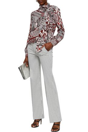 STELLA JEAN Pussy-bow printed crepe de chine blouse