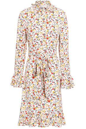 MIKAEL AGHAL Tie-front floral-print crepe de chine shirt dress