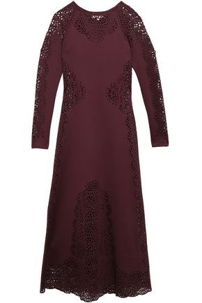 TEMPERLEY LONDON Laser-cut scuba maxi dress