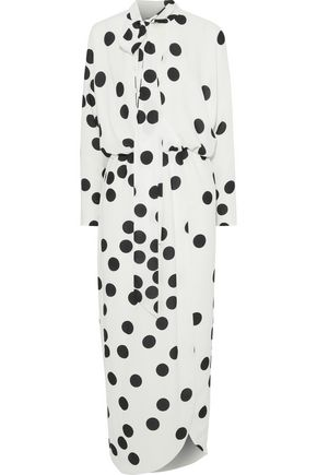 MONIQUE LHUILLIER Wrap-effect polka-dot jersey midi dress