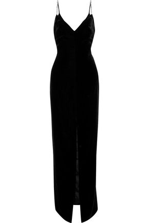 MONIQUE LHUILLIER Crystal-embellished velvet gown