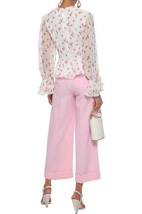 MIKAEL AGHAL Ruffled floral-print chiffon blouse