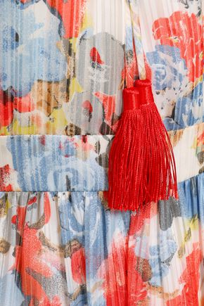 MIKAEL AGHAL Tasseled floral-print plissé-georgette gown