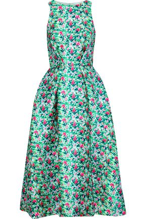 MONIQUE LHUILLIER Flared floral-print satin-twill midi dress