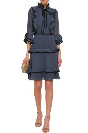 MIKAEL AGHAL Lace-trimmed ruffled georgette dress