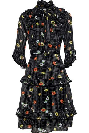 MIKAEL AGHAL Pussy-bow ruffle-trimmed printed georgette dress