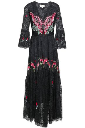 TEMPERLEY LONDON Gathered embroidered lace midi dress