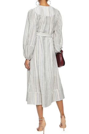 ZIMMERMANN Striped cotton and linen-blend midi dress