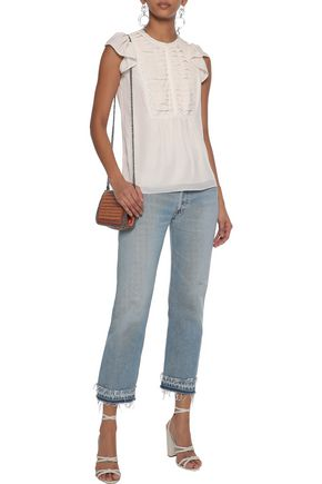 REBECCA MINKOFF Sheldy lace-trimmed pintucked crepe de chine blouse