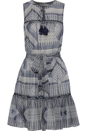 REBECCA MINKOFF Open knit-trimmed printed chiffon mini dress