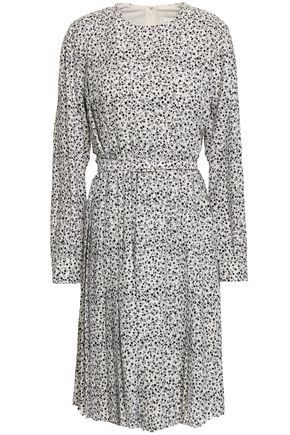 MIKAEL AGHAL Belted pleated floral-print crepe dress