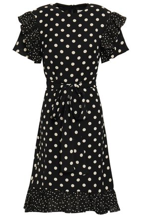 MIKAEL AGHAL Belted ruffle-trimmed polka-dot crepe dress