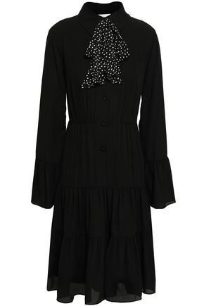 MIKAEL AGHAL Pussy-bow fluted crepe de chine dress