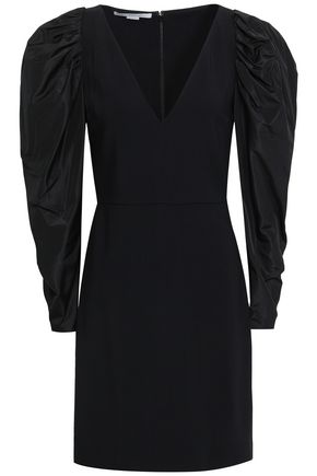 STELLA McCARTNEY Paneled stretch-crepe and taffeta mini dress
