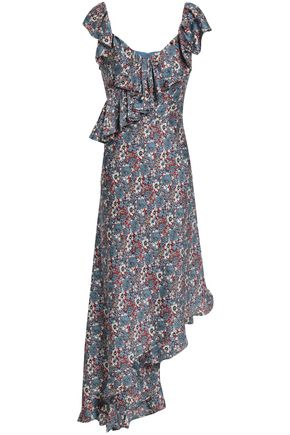 MIKAEL AGHAL Asymmetric ruffled floral-print cady midi dress