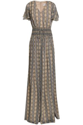MIKAEL AGHAL Smocked printed georgette gown