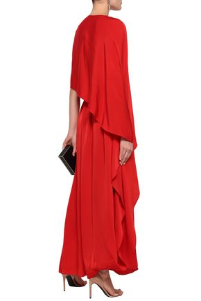 STELLA McCARTNEY Cape-effect crepe maxi dress