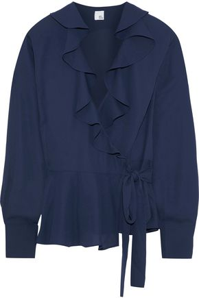 IRIS & INK Nigella ruffle-trimmed crepe wrap blouse
