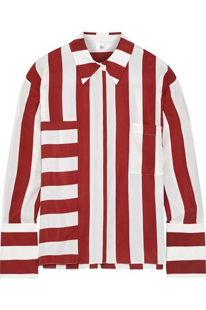 IRIS & INK Valentina striped washed-silk shirt
