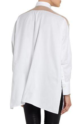 VALENTINO Oversized organza-paneled cotton-piqué shirt