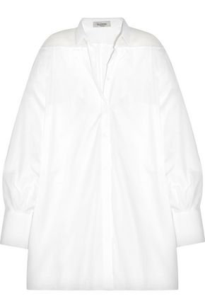 VALENTINO Oversized organza-paneled cotton-piqué shirt