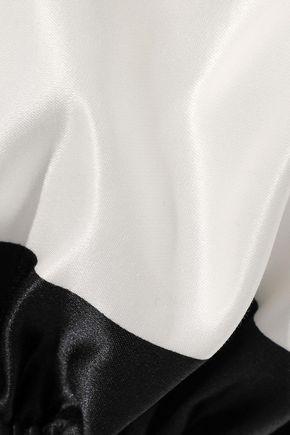 CAROLINE CONSTAS Titos off-the-shoulder striped cotton and silk-blend satin mini dress