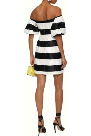 CAROLINE CONSTAS Titos off-the-shoulder striped cotton and silk-blend satin mini dress